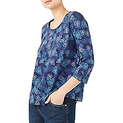 Dash - Navy leaf printed top