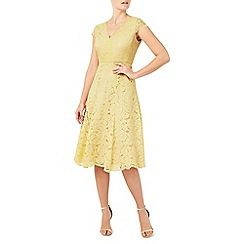 Jacques Vert - Light yellow lace godet dress