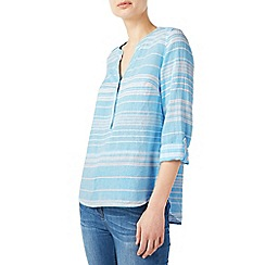 Dash - Mid blue aqua stripe linen blouse