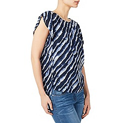 Dash - Mid blue lapping waves woven blouse