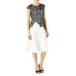 Jacques Vert - Leaf lace top crepe soft dress