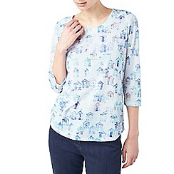 Dash - Rainbow beach hut print top