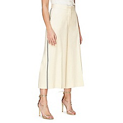 Jacques Vert - Linen embroidered side trousers