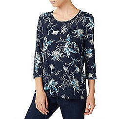 Dash - Blue thistle print jersey top