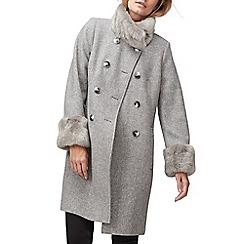 Jacques Vert - Fern faux fur trim twill coat
