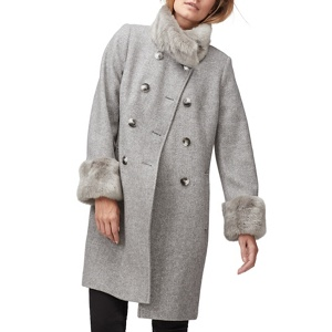 Jacques Vert Fern faux fur trim twill coat