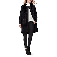 Jacques Vert - Faux fur collar jacquard coat