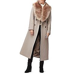 Jacques Vert - Elsa faux fur trim long coat