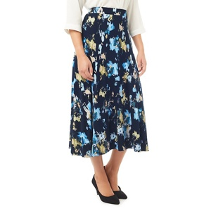 Eastex Navy painted landscape skirt