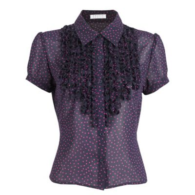 Petite Frill Front Spotted Blouse
