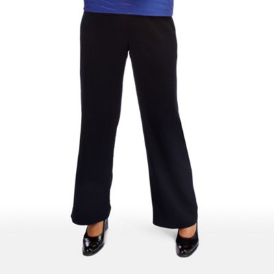 Navy Crinkle Crepe Trousers