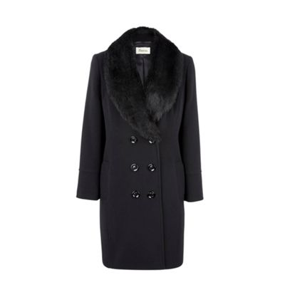 Petite Black Faux Fur Collar Coat