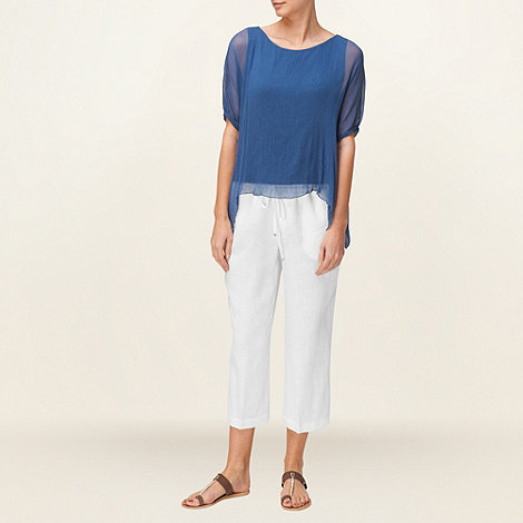 Phase Eight - White Elena Cropped Linen Trousers