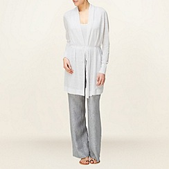 Phase Eight - Steel Christiana Cross Dye Linen Trousers