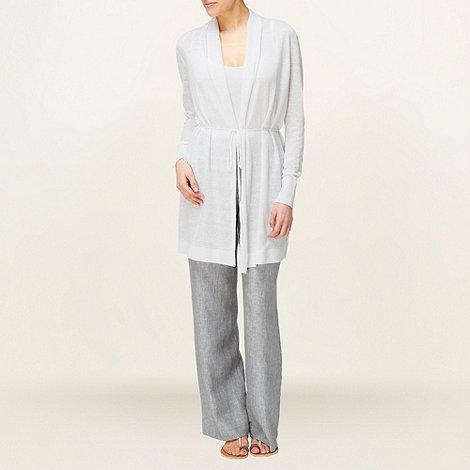 Phase Eight - Steel Christiana Cross Dye Linen Trousers