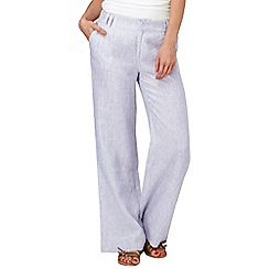 Phase Eight - Periwinkle and White rue stripe linen trousers