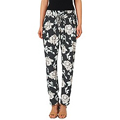 Phase Eight - Black and pale pink rose floral printed trousers