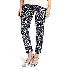 Phase Eight - Blue and ivory annie floral jacquard trousers