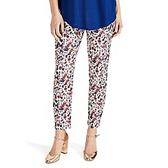 Phase Eight - Multicoloured erica floral jacquard red  trousers