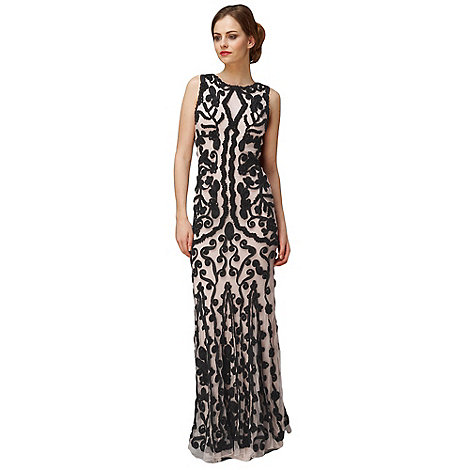 Phase Eight - Nude And Black Lexy Tapework Dress
