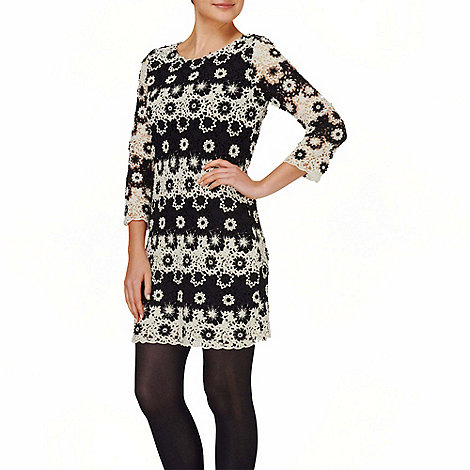 Phase Eight - Black and Ivory cleo mono crochet lace dress