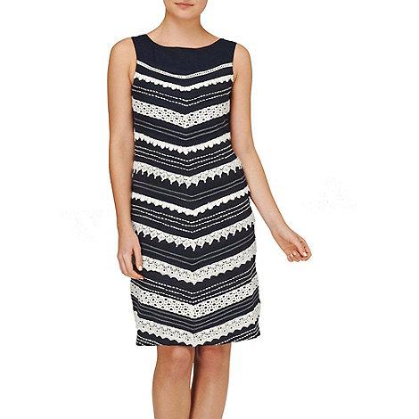Phase Eight - Navy and Ivory inez chevron lace dress