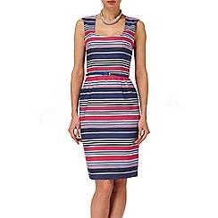 Phase Eight - Navy And Raspberry hazel stripe dress