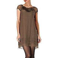 Phase Eight - Khaki rosette silk dress