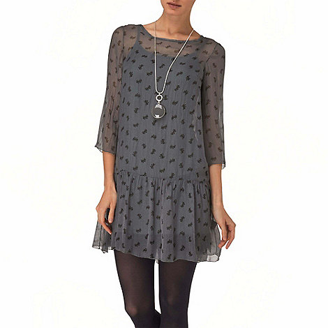 Phase Eight - Charcoal bow print silk dress