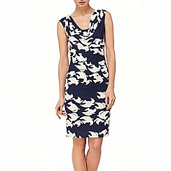 Phase Eight - Navy And Cream kimono bird dress