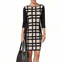 Phase Eight - Black and Stone carina check knit dress