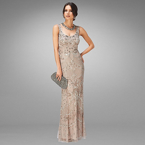Phase Eight - Nude and Silver Alessandra Embellished Full Length Dress