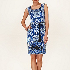 Phase Eight - White and Marine orient print dress