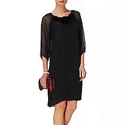 Phase Eight - Black Rosette Silk Dress