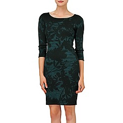 Phase Eight - Black and Petrol etienne print dress