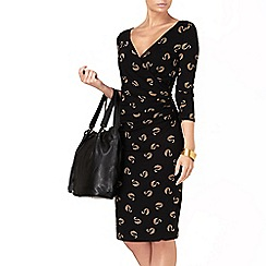 Phase Eight - Black and camel swan print dress