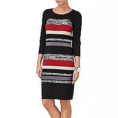 Phase Eight - Black and Red shelby stripe knit dress