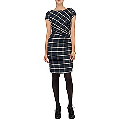 Phase Eight - Navy and Charcoal kendal side ruched check dress