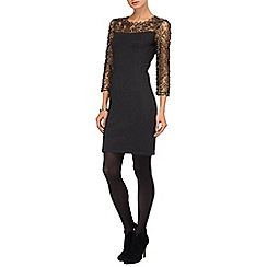 Phase Eight - Black and Gold suzy foil print dress