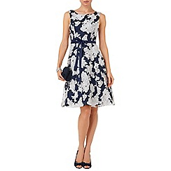 Phase Eight - Navy and white norma floral burnout dress