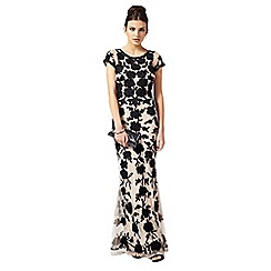 Phase Eight - Collection 8 black and cream leonora tapework petite dress