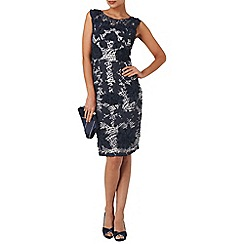 Phase Eight - Navy and white dotty tapework dress