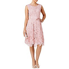 Phase Eight - Powder rose lace fit and flare dress