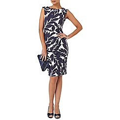 Phase Eight - Navy and cream leaf print dress