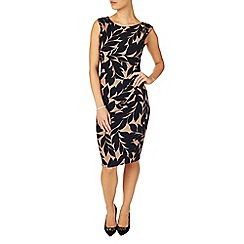 Phase Eight - Black and camel leaf print dress