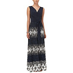 Phase Eight - Navy and cream jane textured bottom maxi dress