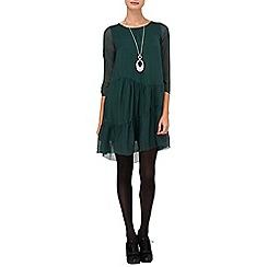 Phase Eight - Green peri silk tiered dress