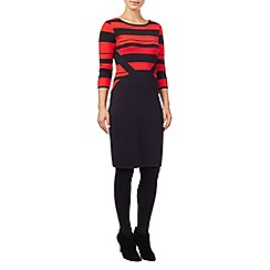 Phase Eight - Navy and Red shavon knit stripe dress