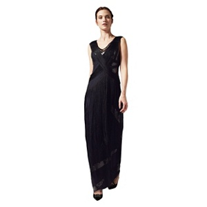 Phase Eight Black And Navy Melody Fringed Full Length Dress