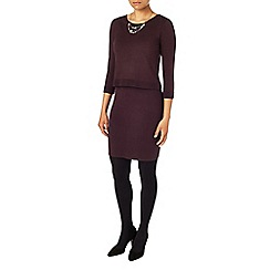 Phase Eight - Aubergine darina double layer knit dress